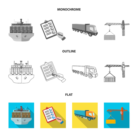 Sea freight, signature of delivery documents, truck, tower crane with a container. Logistics and delivery set collection icons in flat,outline,monochrome style isometric vector symbol stock illustration . Illustration