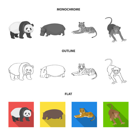 Ours en bambou, hippopotame, tigre animal sauvage, singe. Animaux sauvages mis icônes de la collection en illustration stock de symbole de vecteur de le style dessin animé.