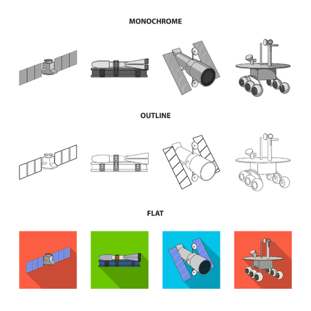 The space station in orbit, the preparation of the launch rocket, the lunar rover on the surface. Space technology set collection icons in flat,outline,monochrome style vector symbol stock illustration .