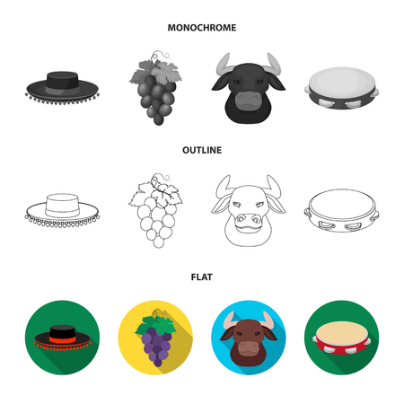 The hat of the todeador, the matador, a bunch of grapes with fists, a bull for the Spanish bullfight, a tambourine. Spain country set collection icons in flat,outline,monochrome style vector symbol stock illustration .