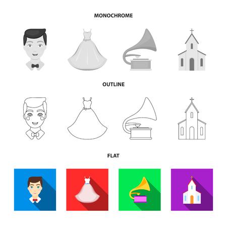 Vestido de novia, novio, gramófono, iglesia. Conjunto de iconos de colección de boda en estilo plano, contorno, símbolo ilustración vectorial de stock.