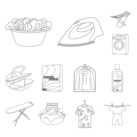 Dry cleaning equipment outline icons in set collection for design. Washing and ironing clothes vector symbol stock  illustration. Banque d'images - 104264675