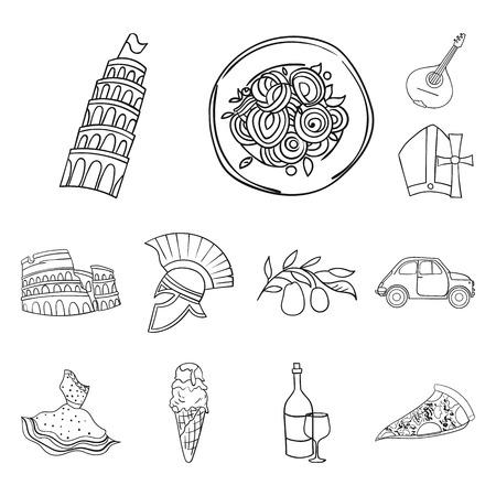 País Italia esquema los iconos de colección set de diseño. Italia y símbolo de vector de referencia stock de ilustración. Ilustración de vector