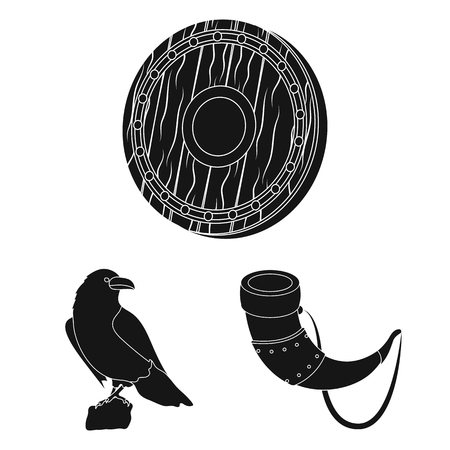 Vikings and attributes black icons in set collection for design.Old Norse Warrior vector symbol stock  illustration. Vettoriali