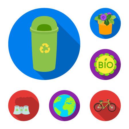 Icone piane di bio ed ecologia nella raccolta di set per il disegno. Un'illustrazione delle azione di simbolo di vettore del prodotto ecologicamente puro. Vettoriali