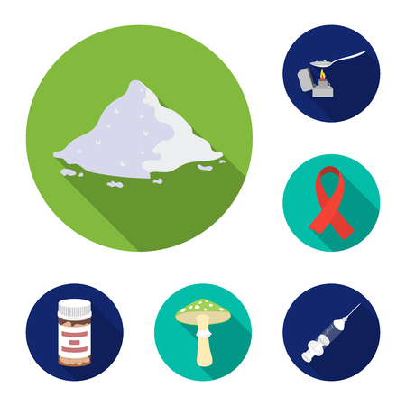 Drug addiction and attributes flat icons in set collection for design. Addict and Drug vector symbol stock  illustration.