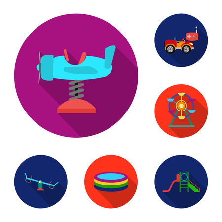 Playground, entertainment flat icons in set collection for design. Attraction and equipment vector symbol stock  illustration. Foto de archivo - 104314912