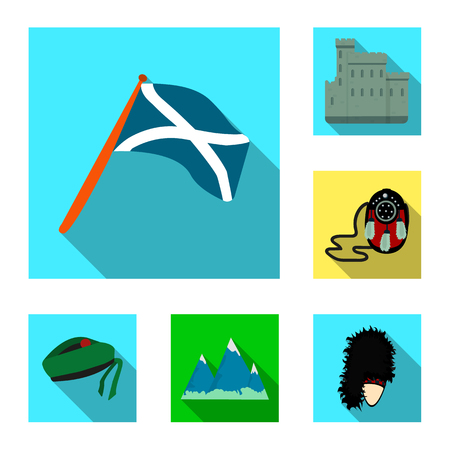 Bag, accessories, hat, fur, headwear, clothing, mountains, snow, Scotland, country, territory, landmark, nature travel traditions culture population sight sightseeing set collection flat vector icon  logo illustration design isolated symbol sign
