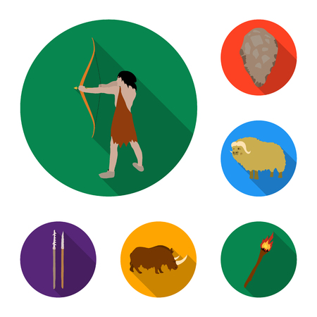 Life in the Stone Age flat icons in set collection for design. Ancient people vector symbol stock  illustration.