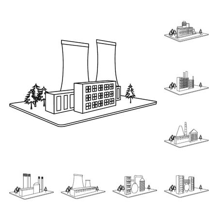 Fabrik- und Pflanzenumrissikonen in der Satzsammlung für Design. Isometrische Symbolvorratillustration des Produktions- und Unternehmensvektors.