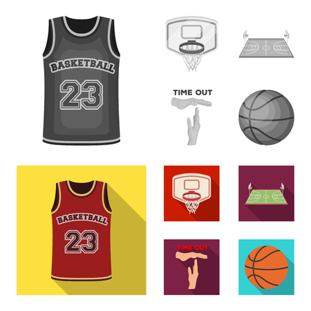Basketball and attributes monochrome,flat icons in set collection for design.Basketball player and equipment vector symbol stock  illustration. 일러스트