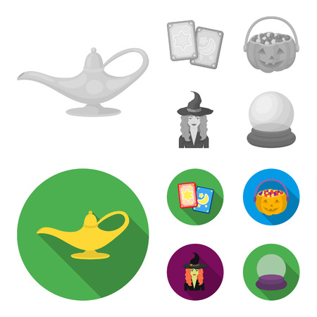 Tarot cards, holiday halloween, magician in a hat, crystal ball.Black and white magic set collection icons in monochrome,flat style vector symbol stock illustration .