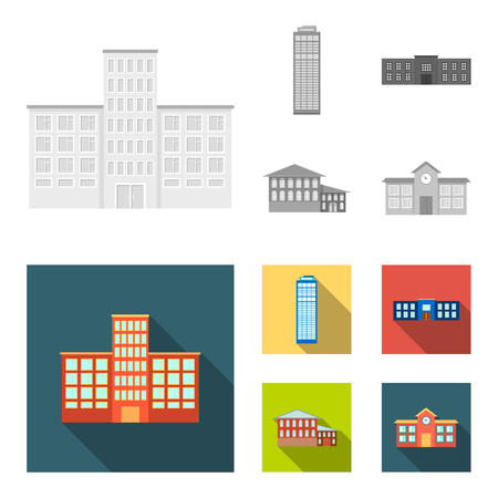 Skyscraper, police, hotel, school.Building set collection icons in monochrome,flat style vector symbol stock illustration . Standard-Bild - 104315017