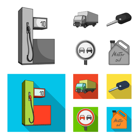 Truck with awning, ignition key, prohibitory sign, engine oil in canister, Vehicle set collection icons in monochrome,flat style vector symbol stock illustration . Archivio Fotografico - 104315019
