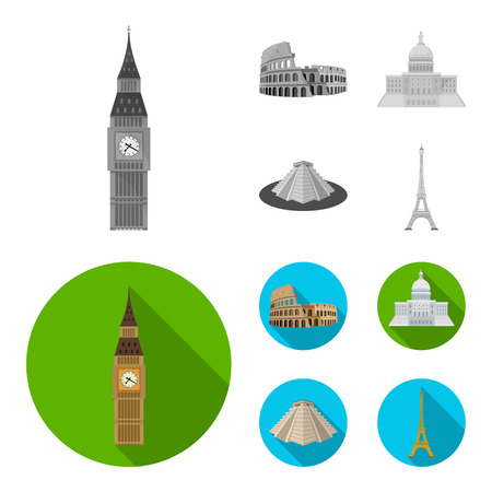 Sights of different countries monochrome,flat icons in set collection for design. Famous building vector symbol stock illustration.