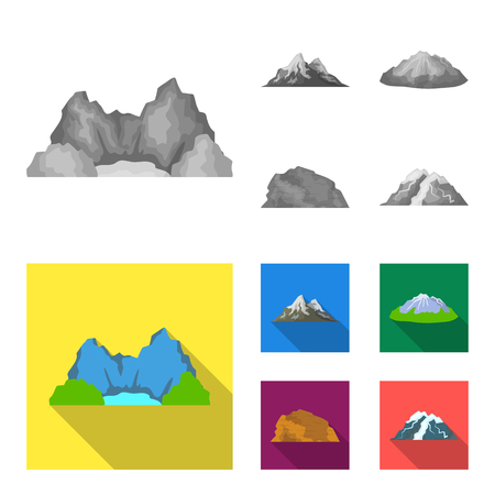 Mountains in the desert, a snowy peak, an island with a glacier, a snow-capped mountain. Different mountains set collection icons in monochrome,flat style vector symbol stock illustration .  イラスト・ベクター素材