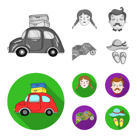 Travel, vacation, camping, map .Family holiday set collection icons in monochrome,flat style vector symbol stock illustration .