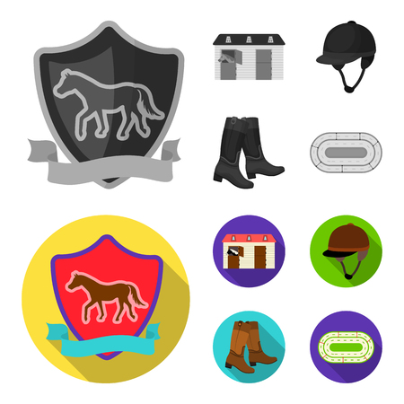 Boots, grass, stadium, track, rest .Hippodrome and horse set collection icons in monochrome,flat style vector symbol stock illustration .