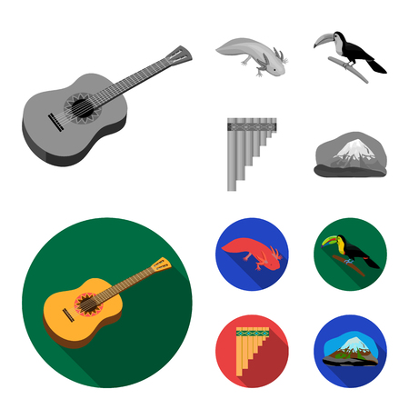 Sampono Mexican musical instrument, a bird with a long beak, Orizaba is the highest mountain in Mexico, axolotl is a rare animal. Mexico country set collection icons in monochrome,flat style vector symbol stock illustration . Illustration