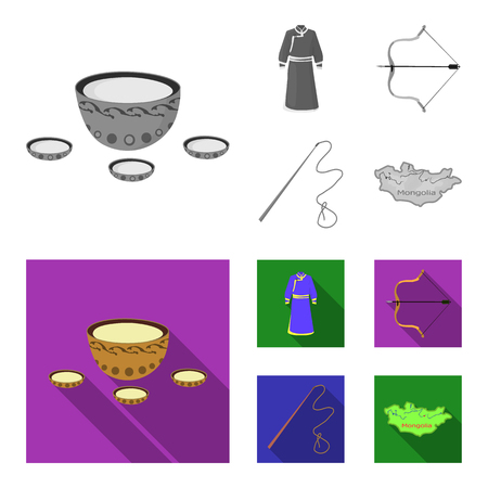 .mongol dressing gown, battle bow, theria on the map, Urga, Khlyst. Mongolia set collection icons in monochrome,flat style vector symbol stock illustration . Çizim