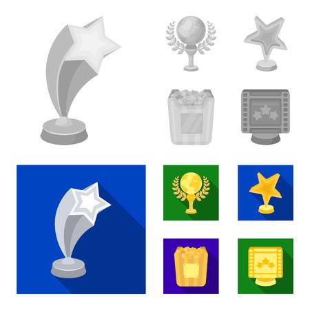 Een gouden prijs in de vorm van een ster, een gouden wereldbol en andere prijzen. Film awards instellen collectie iconen in zwart-wit stijl vector symbool stock illustratie. Vector Illustratie
