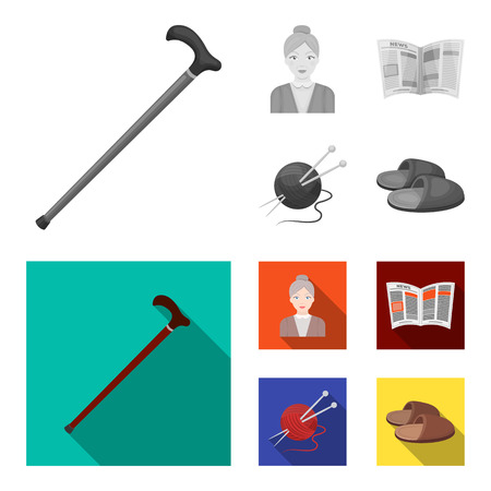 An elderly woman, slippers, a newspaper, knitting.Old age set collection icons in monochrome,flat style vector symbol stock illustration . Illustration