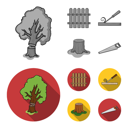 Fence, chisel, stump, hacksaw for wood. Lumber and timber set collection icons in monochrome,flat style vector symbol stock illustration .