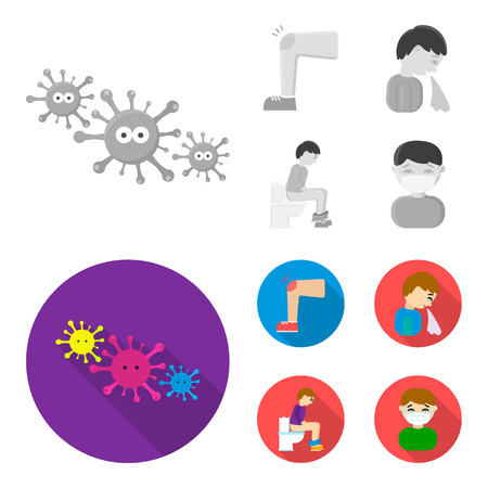 A foot with a bruise in the knee, sneezing sick, a man sitting on the toilet, a man in a medical mask. Sick set collection icons in monochrome,flat style vector symbol stock illustration .
