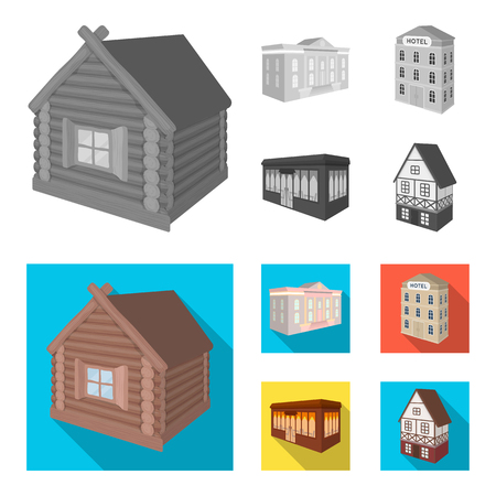 The museum building, a three-story hotel, a stable at the racecourse, a residential cottage. Architectural and building set collection icons in monochrome,flat style vector symbol stock illustration .