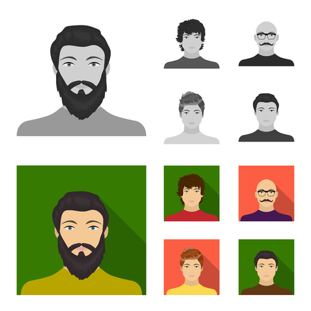 The appearance of the young guy, the face of a bald man with a mustache in his glasses. Face and appearance set collection icons in monochrome,flat style vector symbol stock illustration .