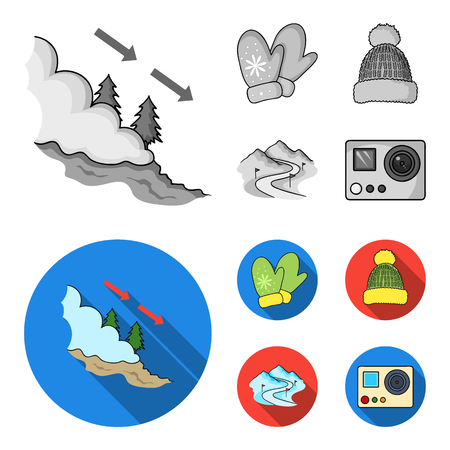 Mittens, warm hat, ski piste, motion camera. Ski resort set collection icons in monochrome,flat style vector symbol stock illustration .