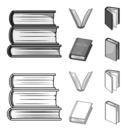 Various kinds of books. Books set collection icons in outline,monochrome style vector symbol stock illustration .