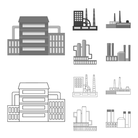 Industry, production.Factory set collection icons in outline,monochrome style vector symbol stock illustration . Vettoriali