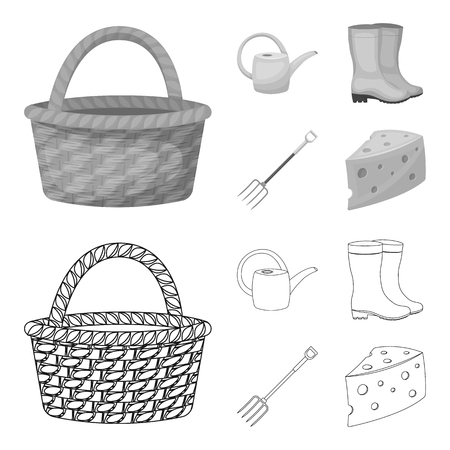 Basket wicker, watering can for irrigation, rubber boots, forks. Farm and gardening set collection icons in outline,monochrome style vector symbol stock illustration .