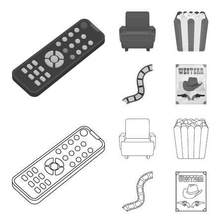 Control panel, an armchair for viewing, popcorn.Films and movies set collection icons in outline,monochrome style vector symbol stock illustration web.