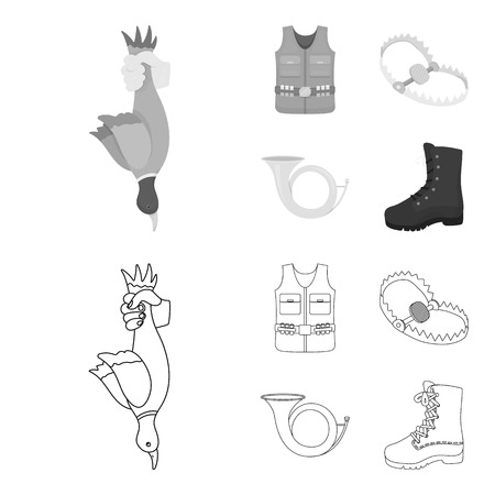A trophy in his hand, a steel trap, a hunting vest with patronage, a horn..Hunting set collection icons in outline,monochrome style vector symbol stock illustration web.