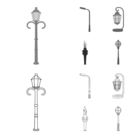 Lamppost in retro style,modern lantern, torch and other types of streetlights. Lamppost set collection icons in outline,monochrome style vector symbol stock illustration web.