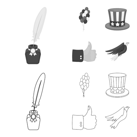 Balloons, inkwell with a pen, Uncle Sam hat. The patriot day set collection icons in outline,monochrome style vector symbol stock illustration web. Vettoriali