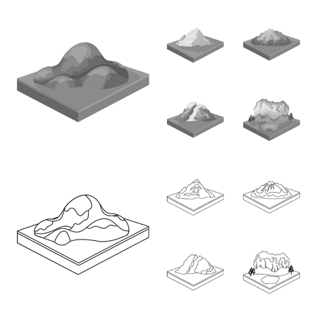 Mountains, rocks and landscape. Relief and mountains set collection icons in outline,monochrome style isometric vector symbol stock illustration web. Illusztráció