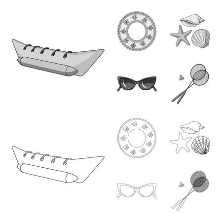 Atracción de agua, conchas marinas, gafas. Las vacaciones de verano establecen los iconos de la colección en contorno, estilo monocromo vector símbolo stock ilustración web.