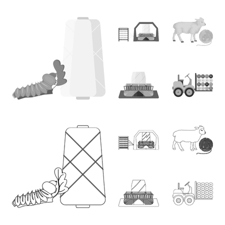 Cotton, coil, thread, pest, and other web icon in outline,monochrome style. Textiles, industry, gear icons in set collection.