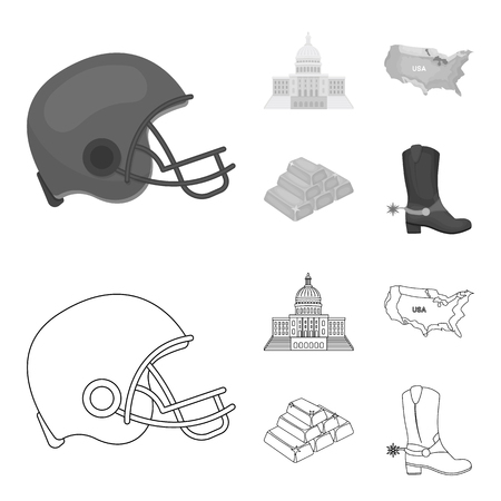 Football player helmet, capitol, territory map, gold and foreign exchange. USA Acountry set collection icons in outline,monochrome style vector symbol stock illustration web.