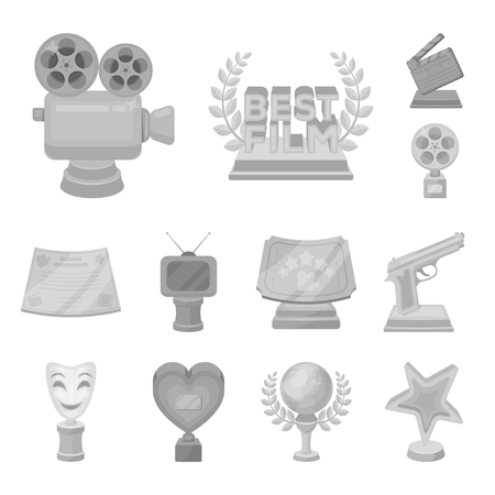 Film awards and prizes monochrome icons in set collection for design. The World Film Academy vector symbol stock web illustration. Stock Illustratie