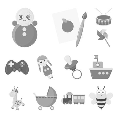 Los niños juegan los iconos monocromos de colección set de diseño. Ilustración de stock de símbolo de vector de juego y chuchería.