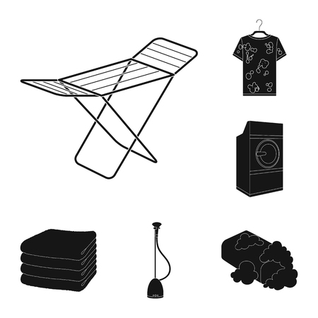 Dry cleaning equipment black icons in set collection for design. Washing and ironing clothes vector symbol stock web illustration. Illustration