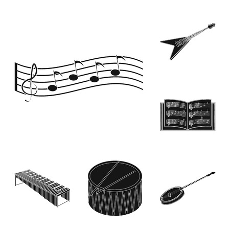 Musical instrument black icons in set collection for design. String and Wind instrument isometric vector symbol stock web illustration.  イラスト・ベクター素材