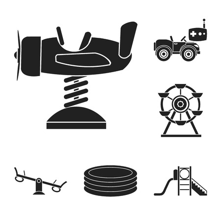 Playground, entertainment black icons in set collection for design. Attraction and equipment vector symbol stock web illustration. Foto de archivo - 104382293