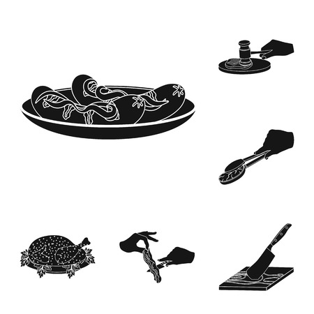 Cooking food black icons in set collection for design. Kitchen, equipment and tools vector symbol stock web illustration. 일러스트