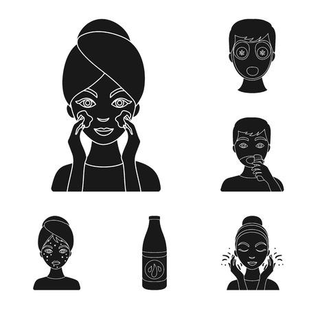 Huidverzorging zwarte pictogrammen in set collectie voor design. Gezicht en lichaam symbool voorraad web vectorillustratie.