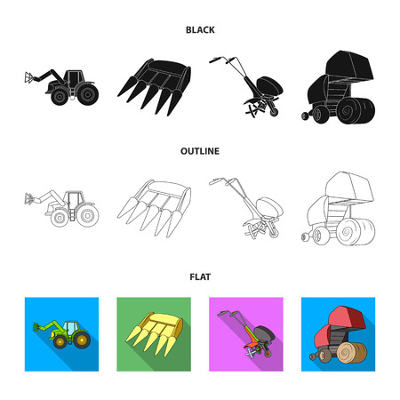Motoblock and other agricultural devices. Agricultural machinery set collection icons in black,flat,outline style vector symbol stock illustration web.
